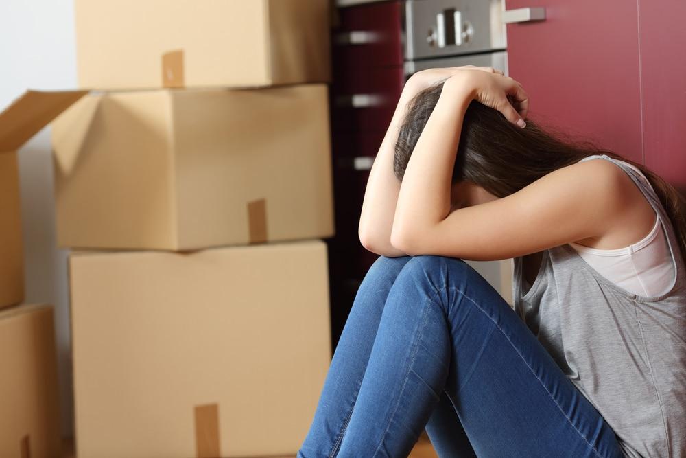 sad woman moving