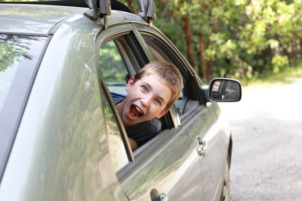 kid in car shouting