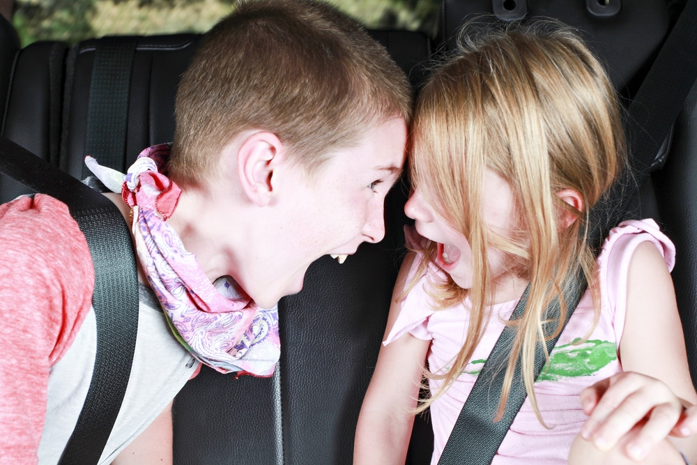 kids angry in a car
