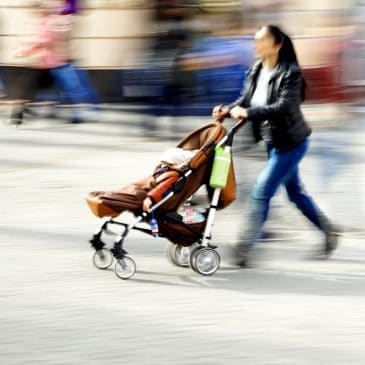 stroller in motion