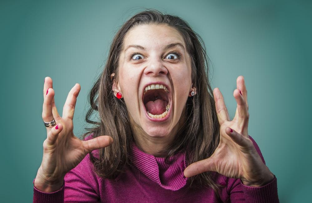 furious woman shouting