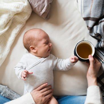 newborn with coffee