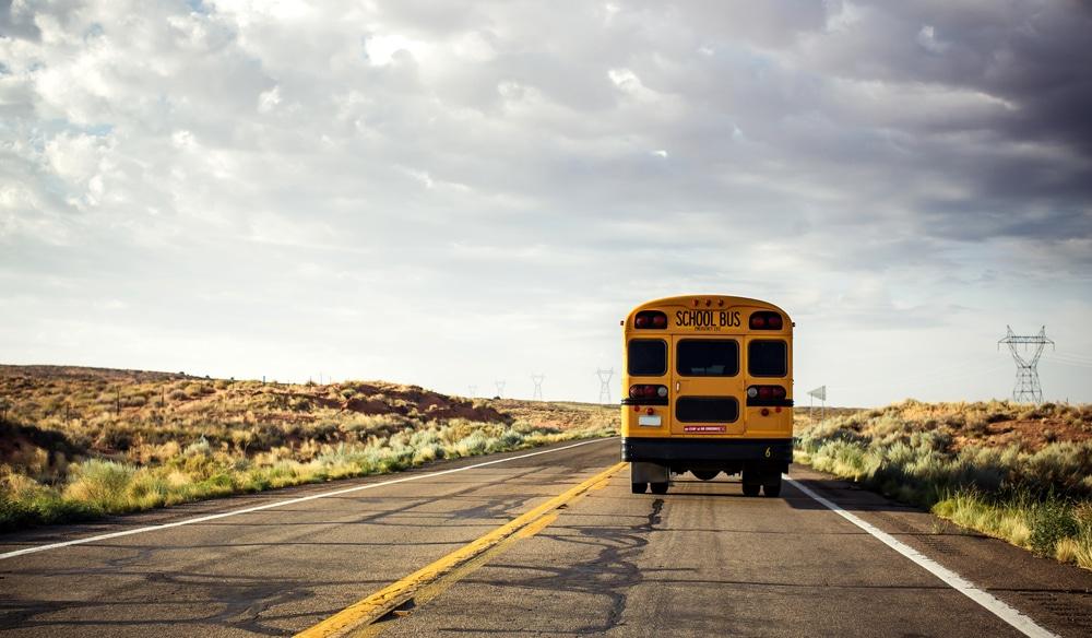 school bus leaving