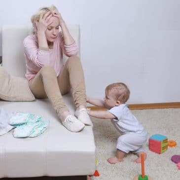 depressed mother with baby