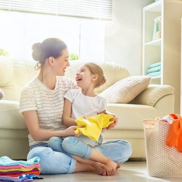 housewife and kid in living room