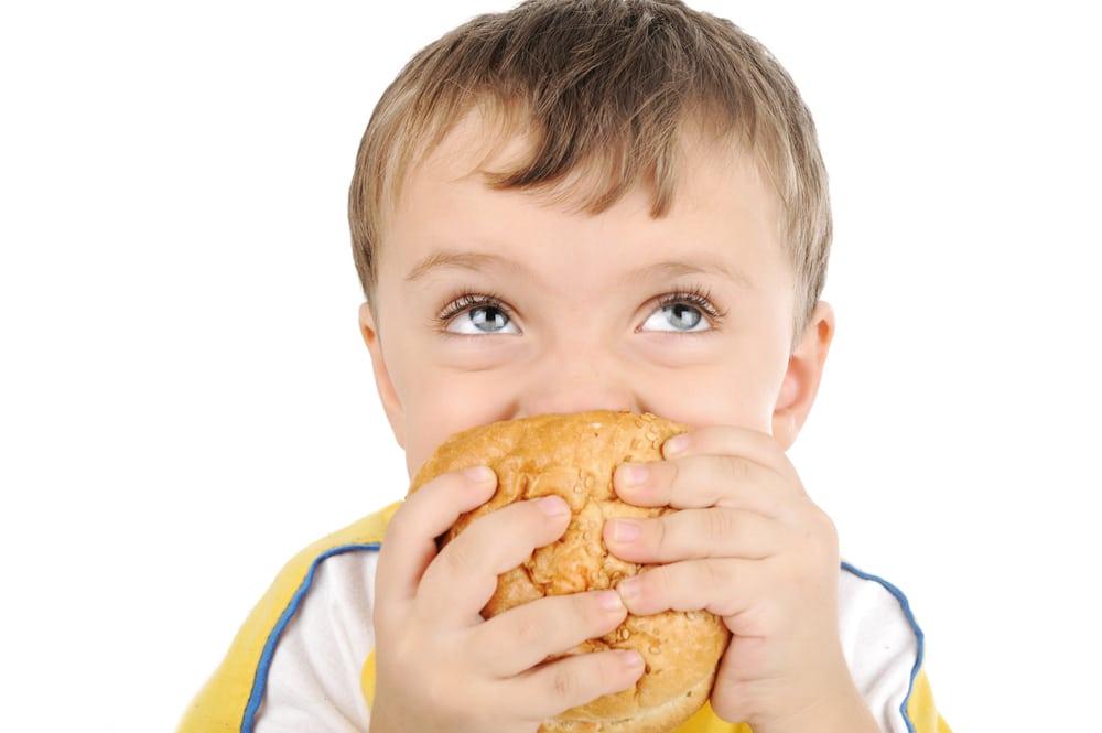 kid eat sandwich