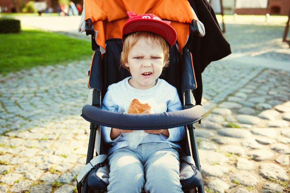 little boy complain outisde