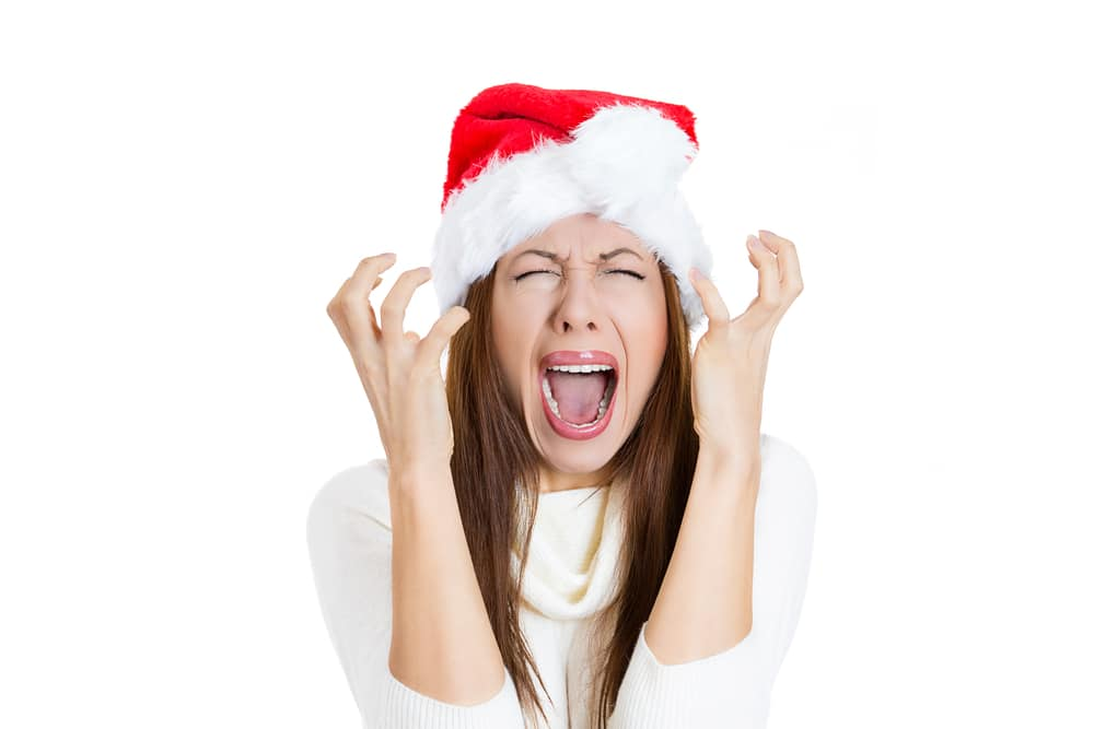 woman stressed by xmas