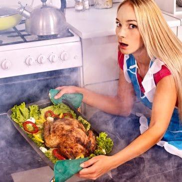 woman burning meal