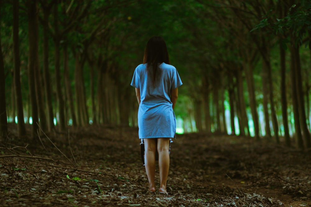 woman alone in the wood