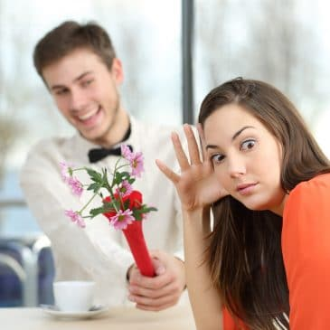 man dating annoyed woman