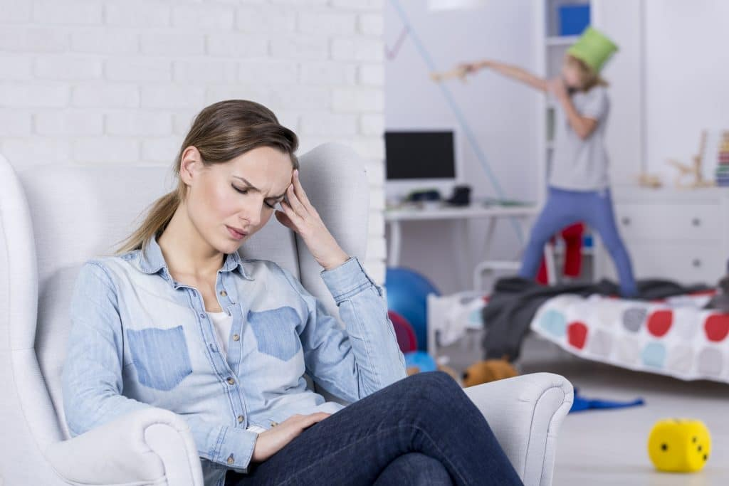 depressed mother with boy