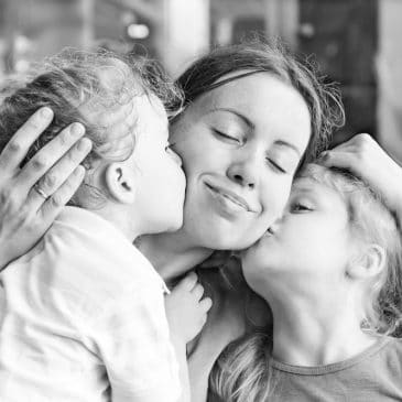 kids and mother