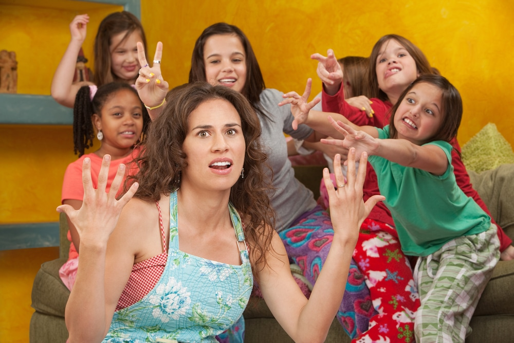 stressed mother with group of kids