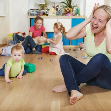 stressed mother with kids