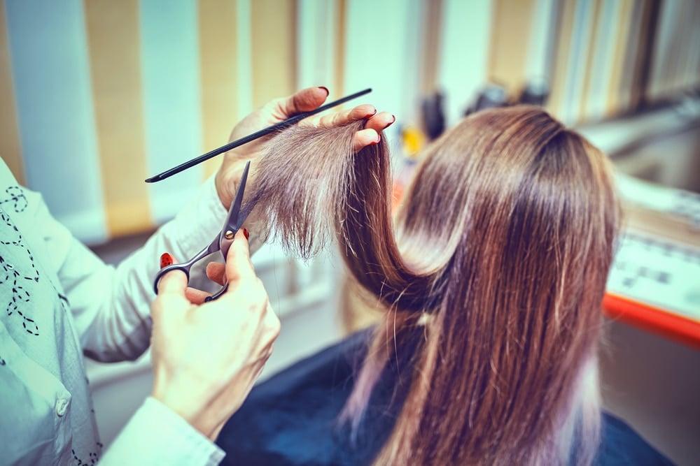 haircut at beauty salon