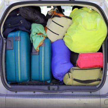 traveling luggages in car