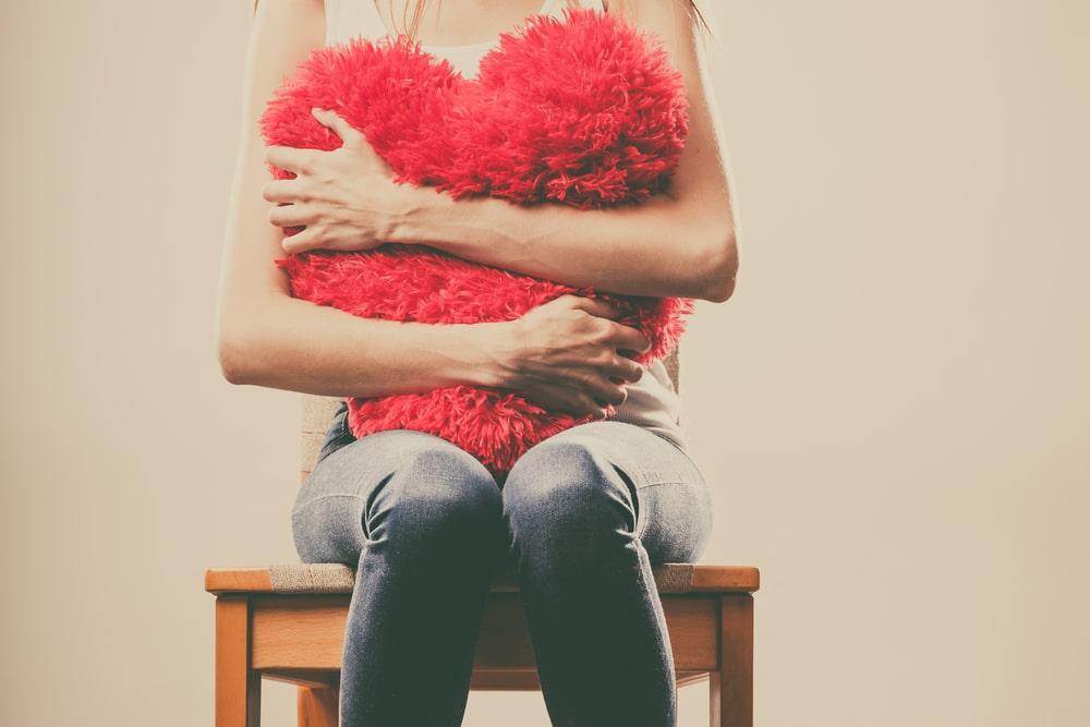sad woman with heart