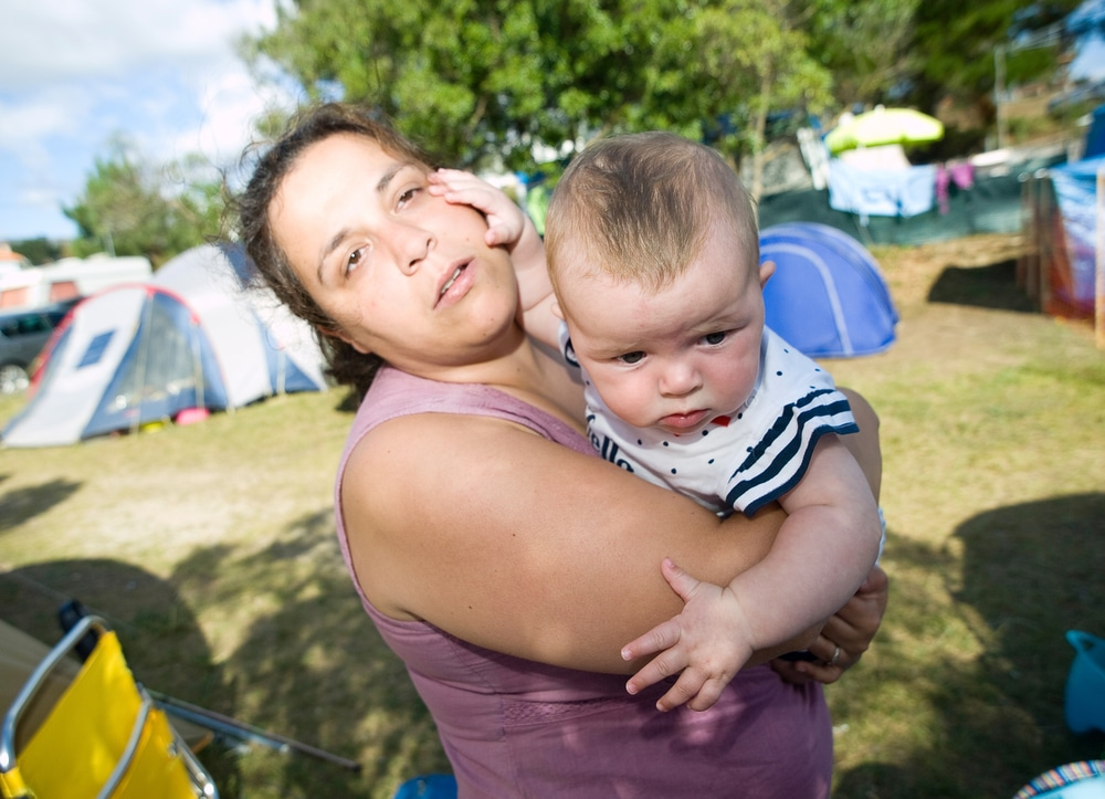 mother and kid camping