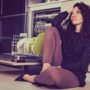 stressed woman sit on the floor