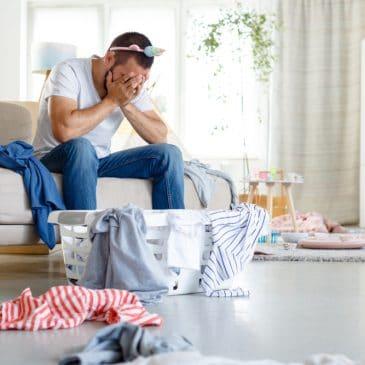 sad man on living room