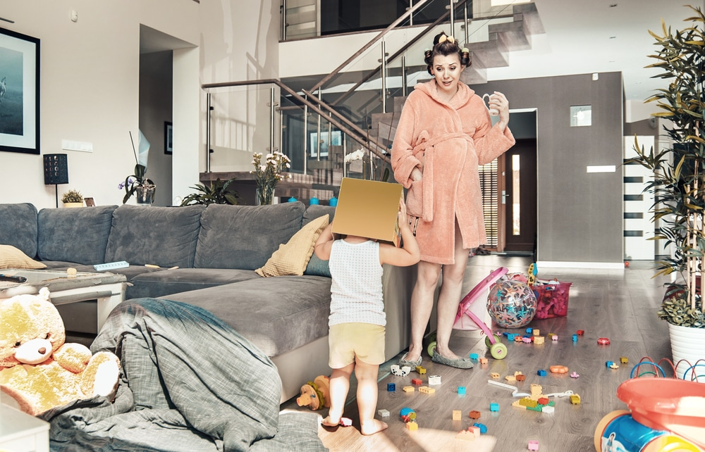 mother and kid with messy house