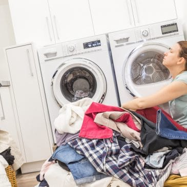 unhappy woman in laundry