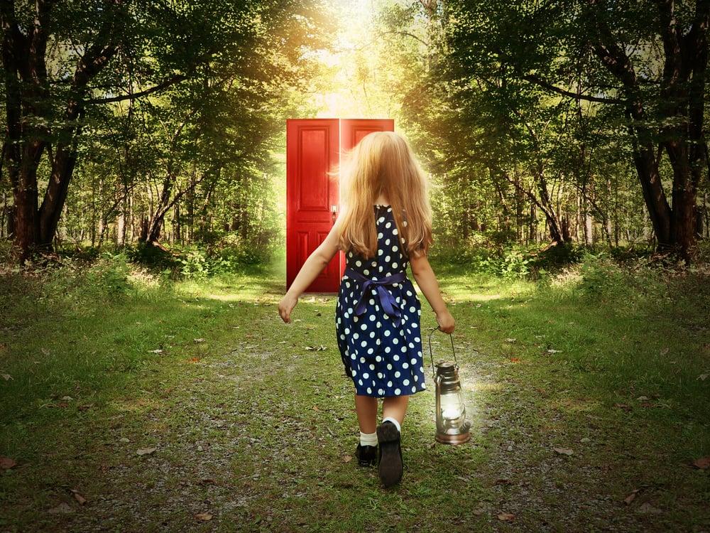 little girl walk into door