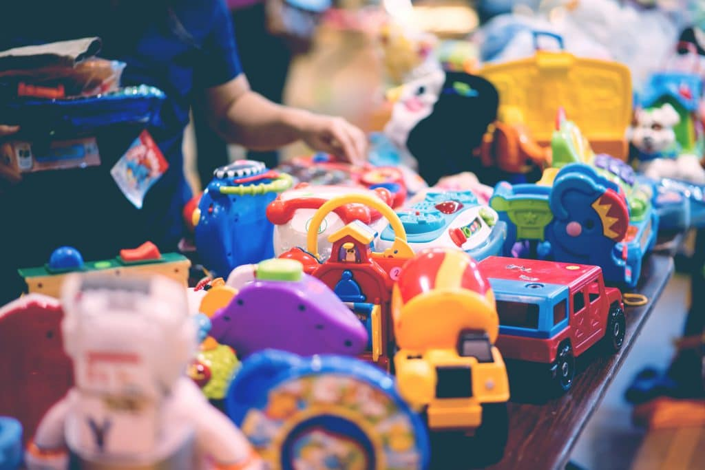 woman buy used toys