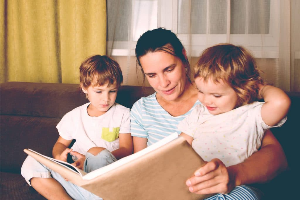 mother read book with kids