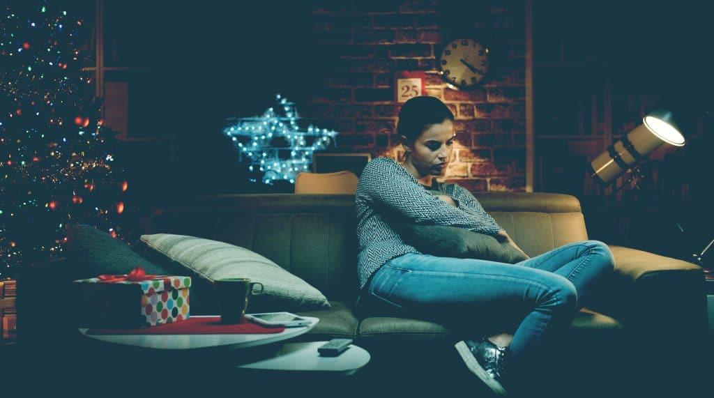 lonely woman at xmas