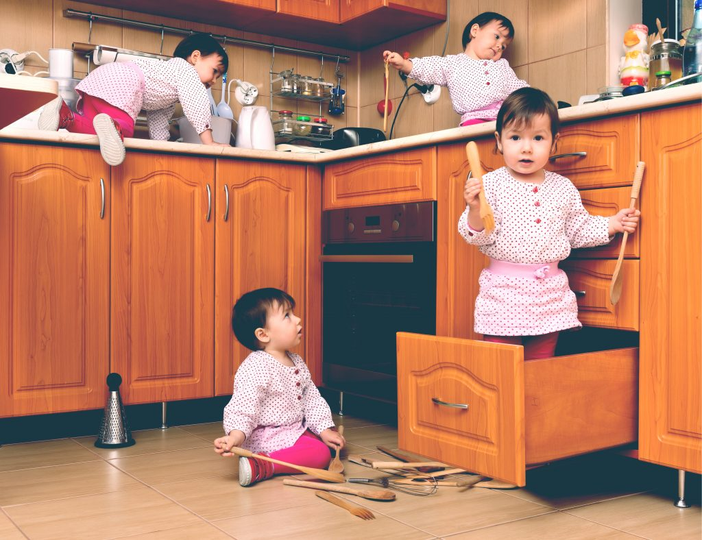 baby mess in kitchen