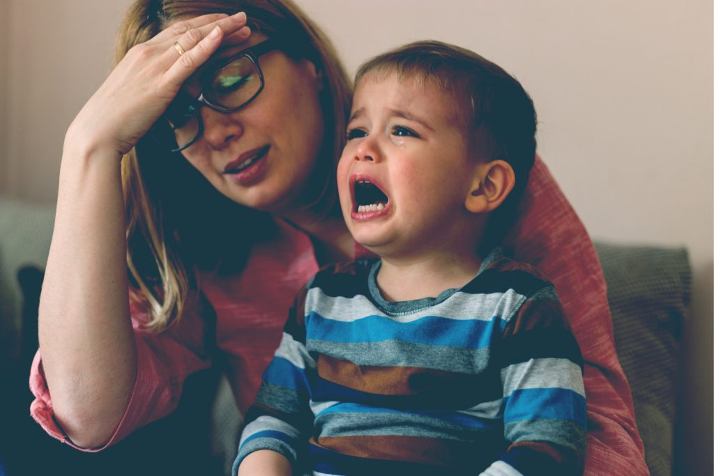 upset mother with kid crying