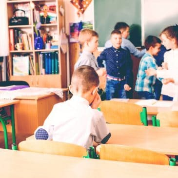 lonely kid in classroom
