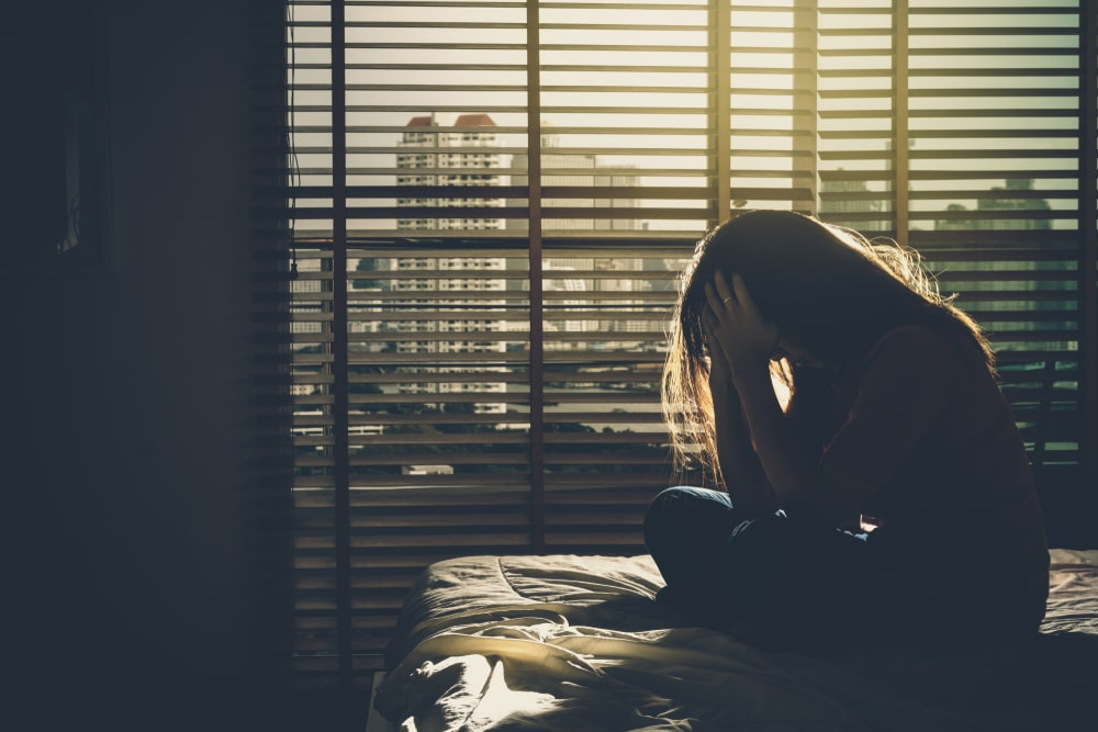 stressed woman alone