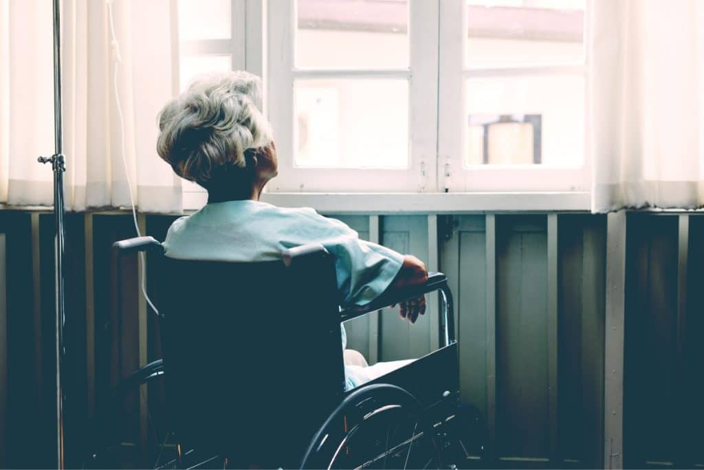 grandmother look at window