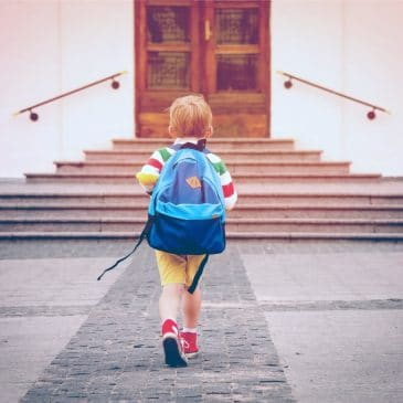 little kid going to school