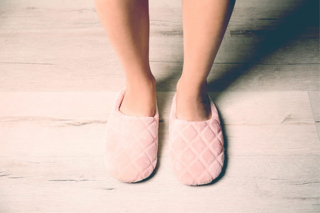 woman feet with slippers