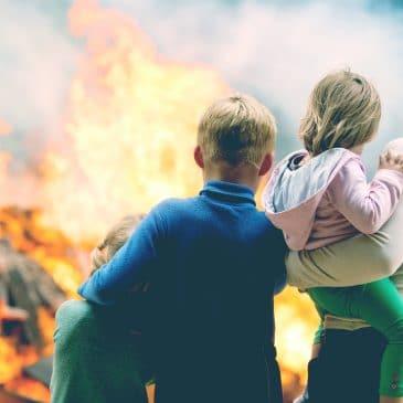 family house burning