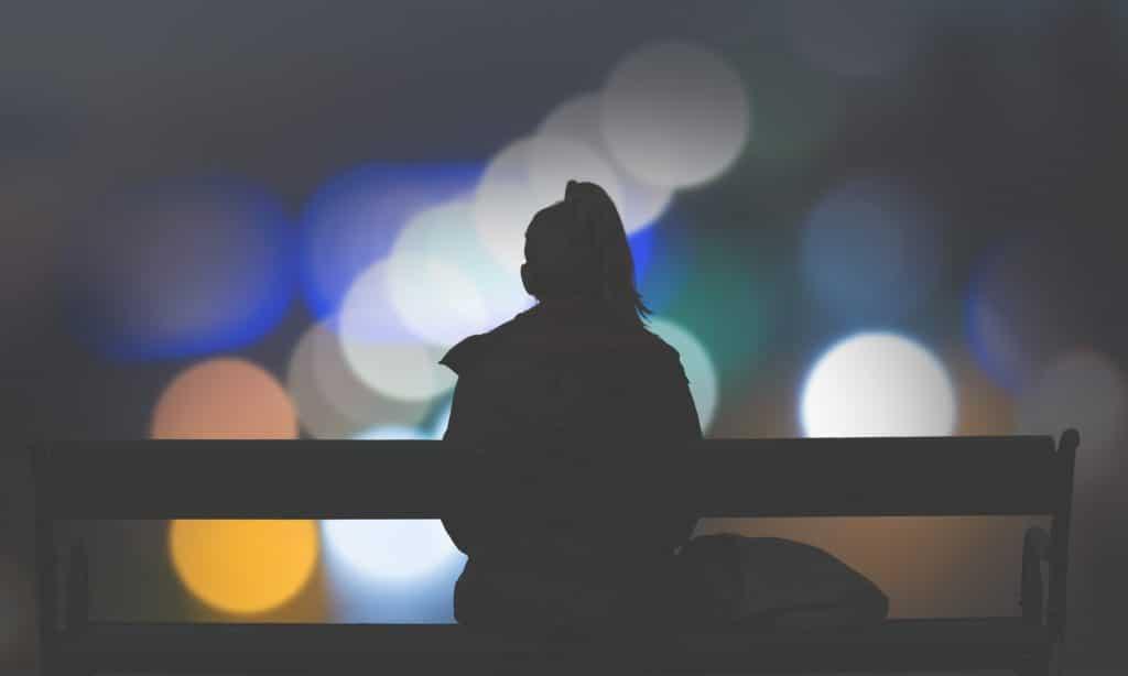 woman alone in the dark