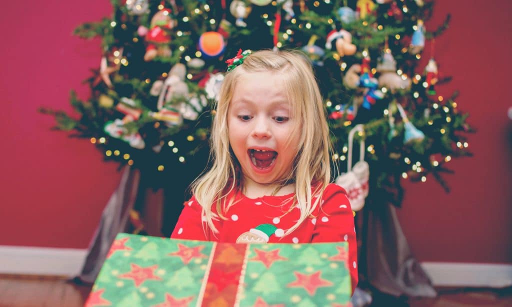 excited kid xmas
