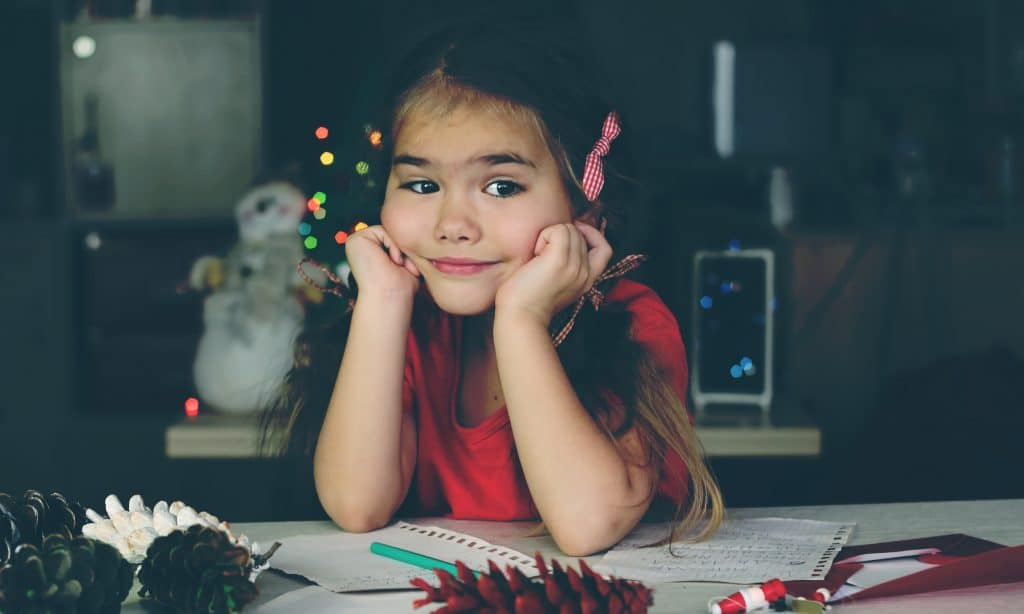 little girl doubtful about santa claus