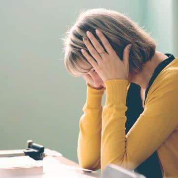 female teacher crying