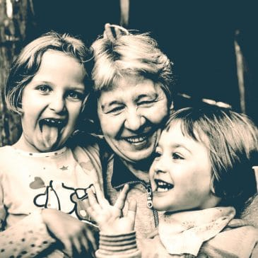 grandmother with granddaughters