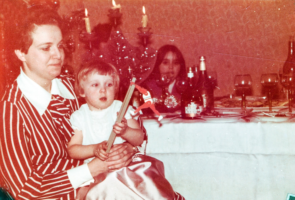 mother with daughter at xmas vintage