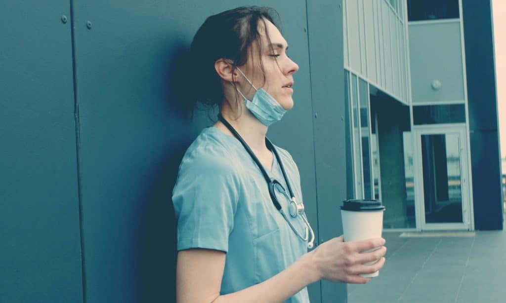 tired nurse at hospital