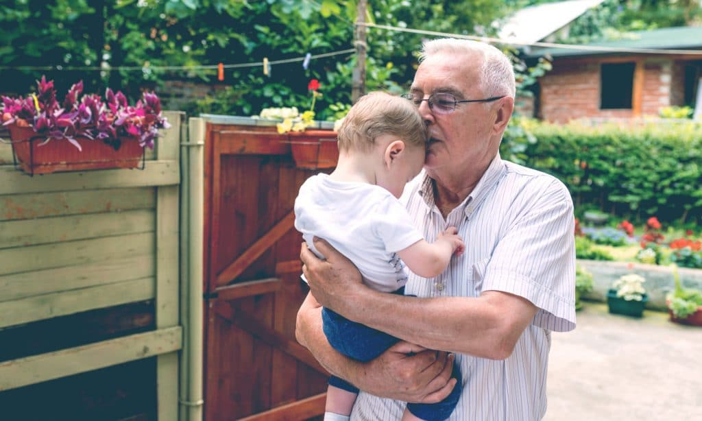 grandfather kiss kid