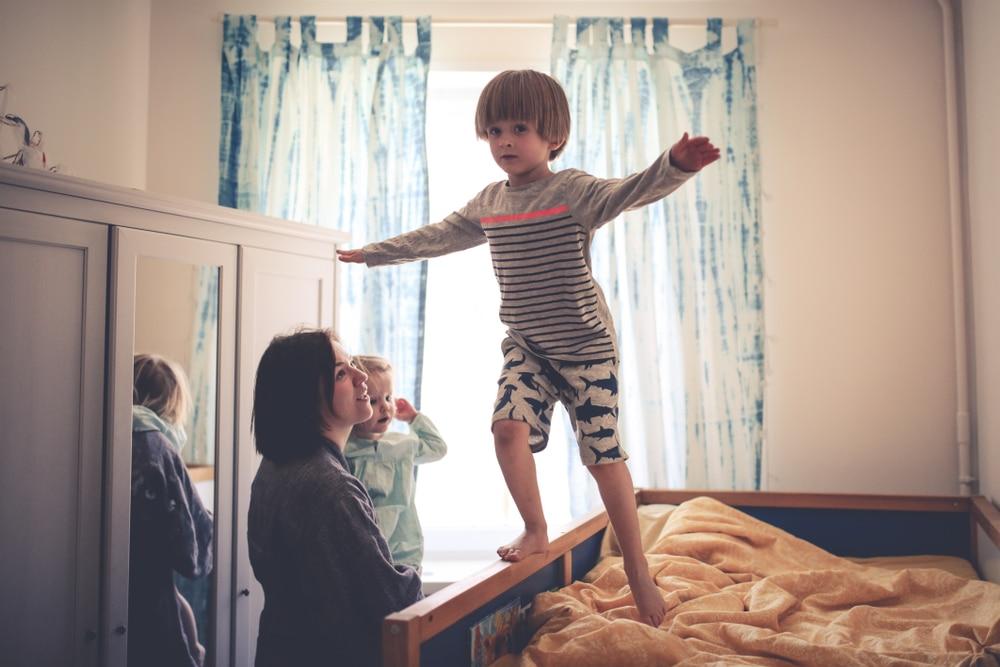 family in kid's room