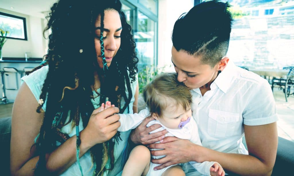 lesbians couple with baby