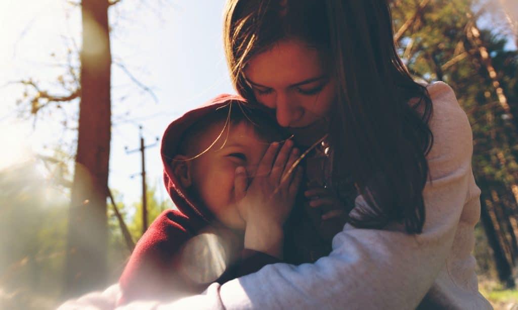 mother hug boy